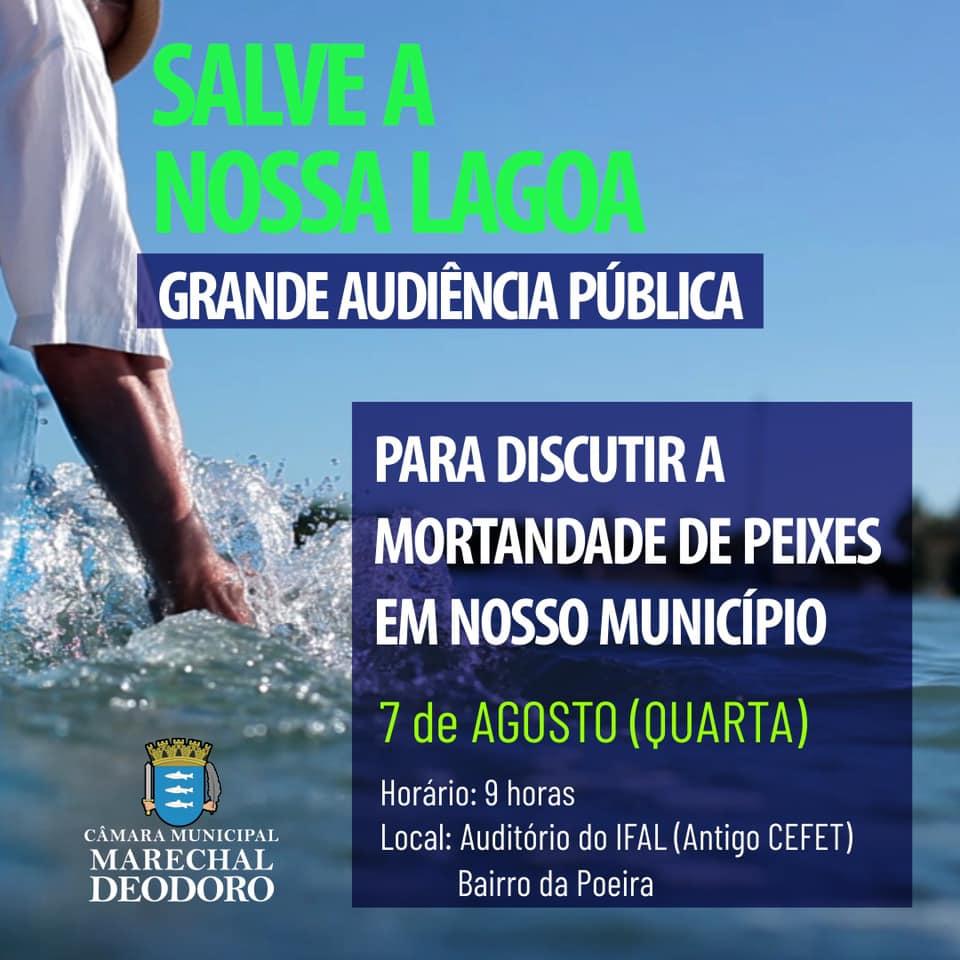 Câmara realizará Audiência Publica para debater sobre a Mortandade de peixes na Lagoa Manguaba